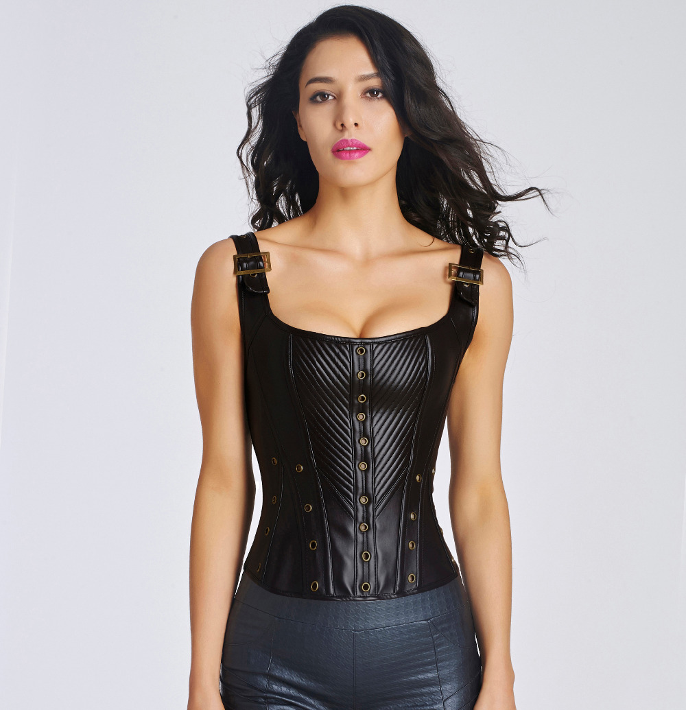 Women clothing Synthetic Leather corset waist trainer Steampunk bustier sexy  Corset and Bustier Strapless bustier corset top