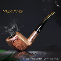 Classic Fashion Bent Type Exquisite Texture Wenge Acrylic Cigarette Holder Wood Smoking Pipe