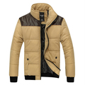 2016 New Winter Jacket Men Warm Coat Parka Leather Patchwork Mens Padded Jackets Stand Collar Coats Chaqueta Hombre 13M0183