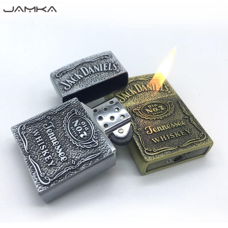 Neue Retro Bronze Metall Rad Gas Zigarettenanzünder Aufblasbare Butan Metall Feuer Relief Feuerzeuge Beste Geschenk