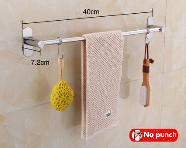 Self Adhesive Bathroom Towel Bar Brushed SUS 304 Stainless Steel Bath Wall Rack Hanging Towel Rod Stick On Sticky Hanger