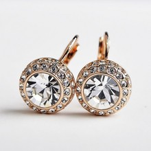 USTAR Brand  Rose Gold color Austrian Moon River Crystal Stud Earrings for women Bijoux fashion Jewelry Brincos grandes