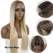 Qd tizer włosy blond długi jedwabisty prosto Ombre blond kolor koronkowa peruka na przód Glueless ciemny odrost syntetyczna koronka peruka front s