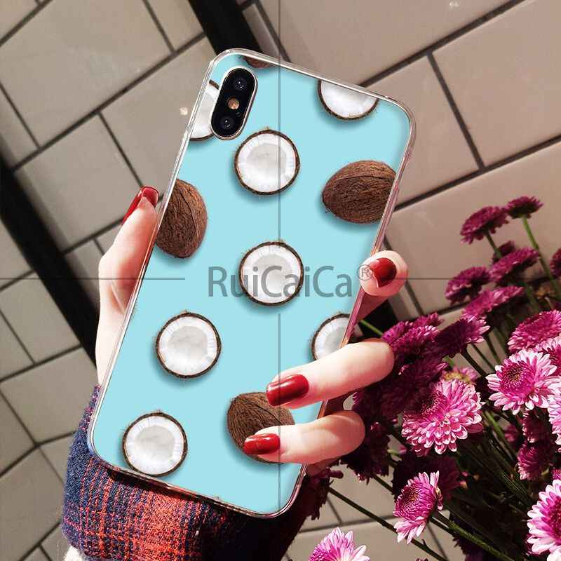 Ruicaica Fruit Coconut In Blue Sky Summe Soft Silicone Phone Case Cover for Apple iPhone 8 7 6 6S Plus X XS MAX 5 5S SE XR Cover