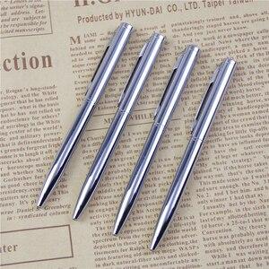 1Pcs Mini Metal Ballpoint Pen Rotating Pocket-size Pen Portable Ball Point Pen Small Oil Pen Exquisite Brief Free Shipping(China)