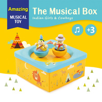 Fun Colorful musical box toys for children kids and girlfriend with little girl and cowboys model Wind Up music