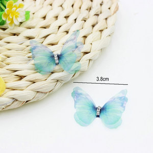 Image 4 - 100 adet degrade renk organze kumaş kelebek aplikler saydam şifon kelebek parti dekor, bebek süsleme