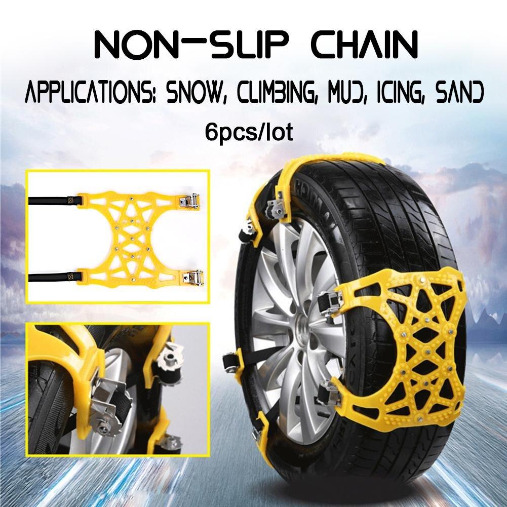 6 pièces voiture neige route pneu anti-dérapant épaississement TPR chaîne pneu matériel modèle général antidérapant chaîne livraison directe 9.4