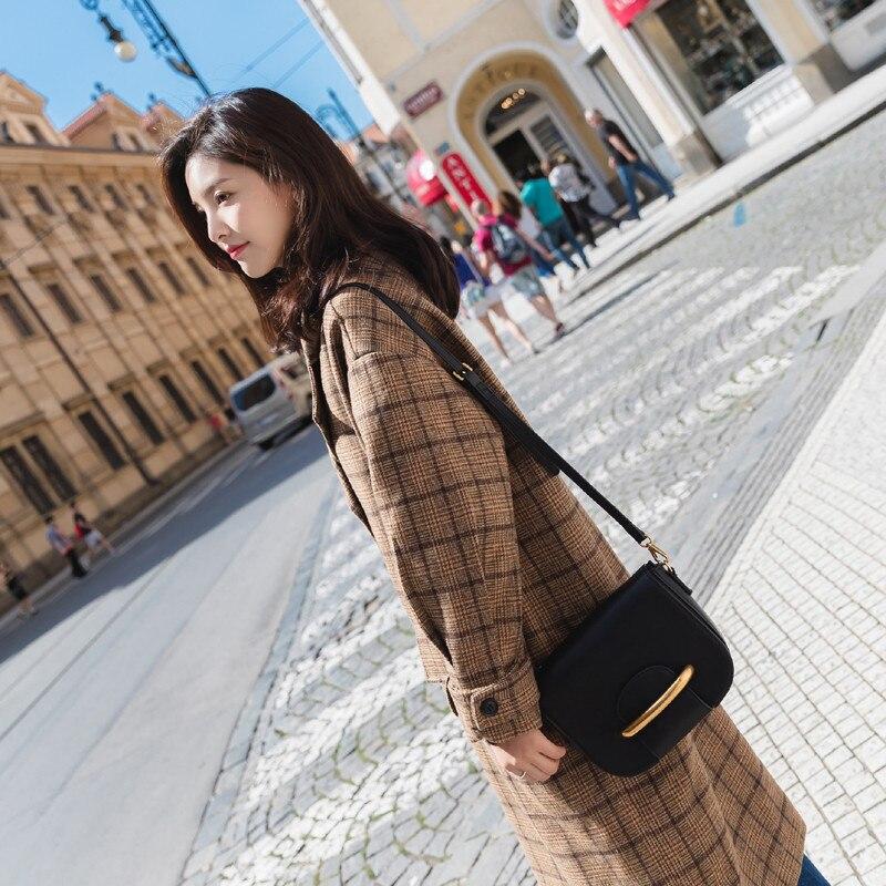 Green Check À Femmes red De W132 Manteau Carreaux beige Coréen Double La Longues Plus Manches Laine Grid Breasted Chaud Taille Long Pardessus Check Lâche Trench D'hiver tRntxq1