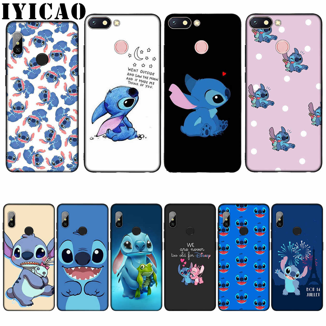 IYICAO Cute Stich Cartoon Silicone Soft Case voor Xiaomi Redmi 6A 5A Note 8 7 4 4X5 Plus 6 Pro Black TPU Cover