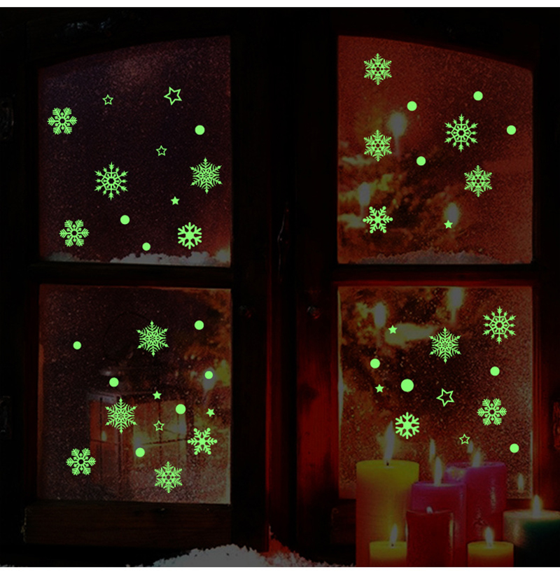 2019 New Year Merry Christmas Decorations for Home Luminous Snowflake Background Decorative Sticker Removable Navidad Natal (4)