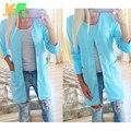 Новая Мода стиль Женщины кардиган пальто Весна Осень Тонкий V шеи Кнопка длинные пальто шанца для Женщин с Карманами