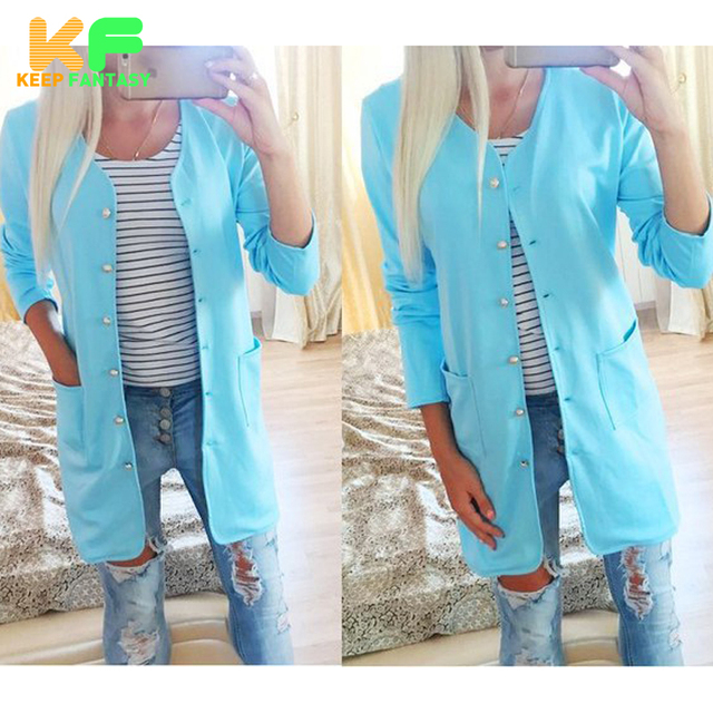 New Fashion style Women cardigan coat Spring Autumn Thin V neck Button long trench coat for Women with Pockets