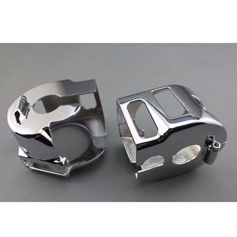 Chrome Motorcycle Switch Housing Covers Cap For Kawasaki Vulcan 900 2000 Yamaha XVS650 Road Star V-Star Suzuki Marauder 1600 motorcycle parts racing custom amber bulbs blinkers indicators turn signals accessories lights chorme fit for yamaha v star vstar v star xvs 1100 silverado