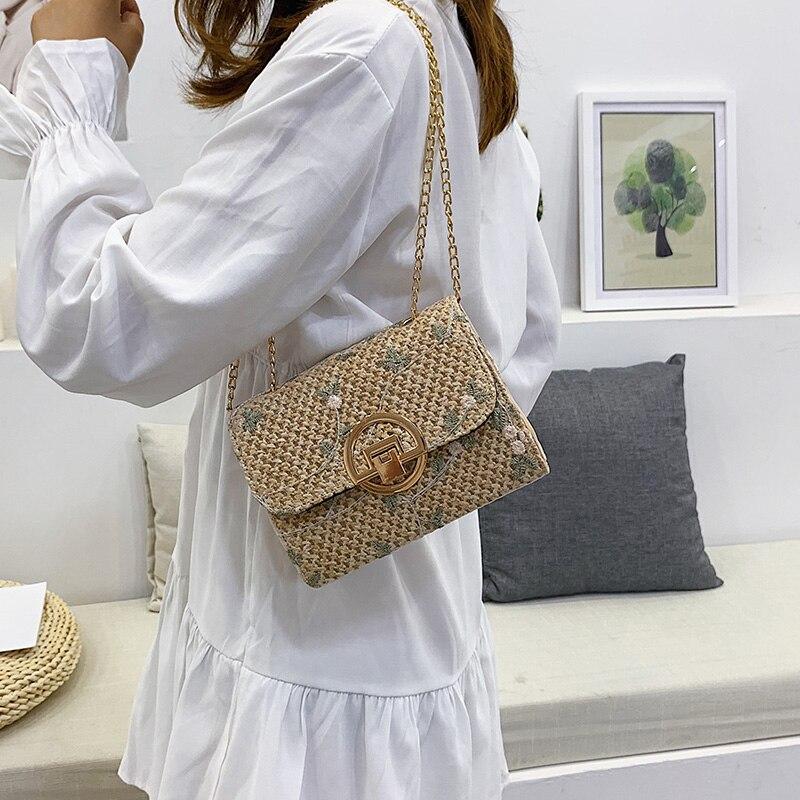Fashion Summer Straw Beach Bag Women Small Handmade Knitted Rattan Bag Woven Shoulder Bags Mini Ladies Handbags Sac A Main 2019 in Shoulder Bags from Luggage Bags