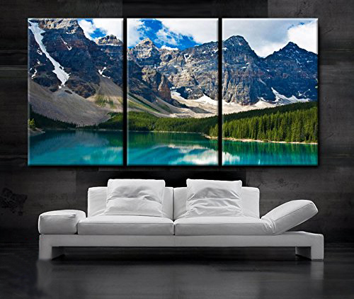 3 Piece Nature Snow Mountain Scenery Canvas Painting Blue Lake Wall Picture Decorative Home Decor Paintings In Calligraphy From