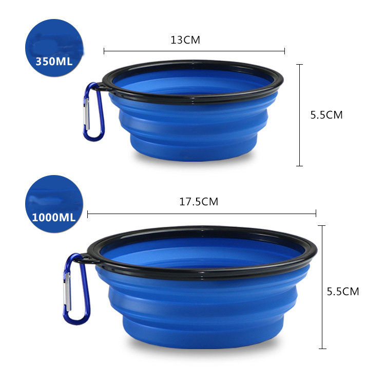 350ml/1000ml Portable Outdoor Travel Pet Dog Bowl Silicone Folding Bowls Food Drinking Water Pet Product Bowls With Buckle #5