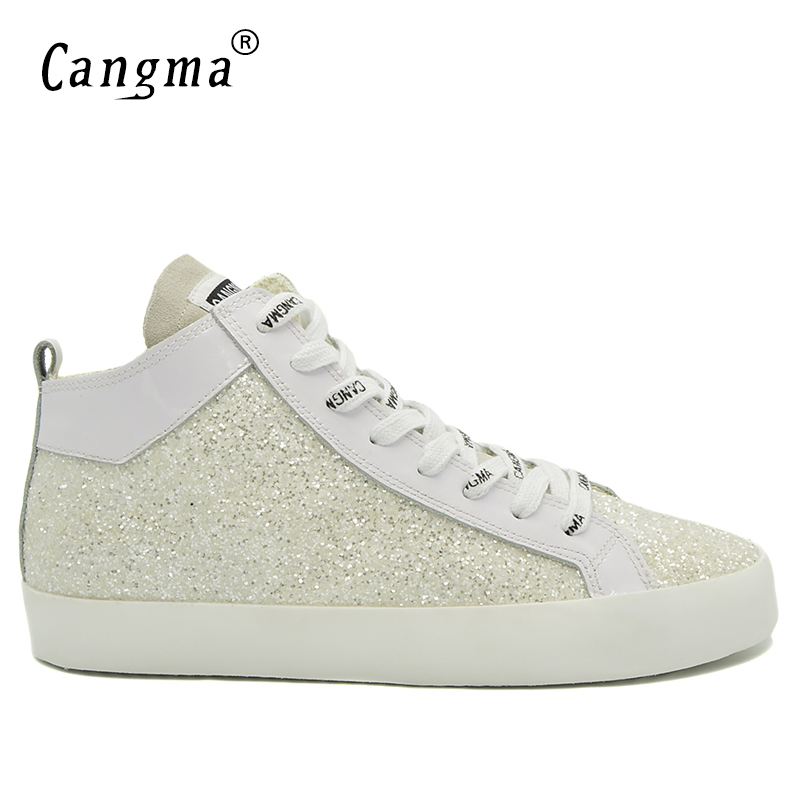 CANGMA Original Delicate Sequin Male Casual Shoes Mid White Sneakers Men Paillette Classic Zapatos Man's Lace Up Leisure Shoes white sweet delicate lace panties