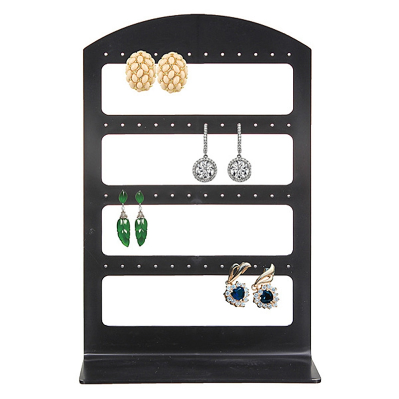 48 Holes Jewelry Organizer Stand Black Plastic Earring Holder Pesentoir Fashion Earrings Display Rack Etagere