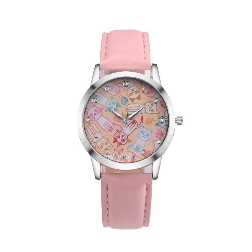 2017 Women saat Cute Cat Faux Leather Clock Analog Quartz Watch Dress Wrist Watch M24 faux leather quartz wrist watch