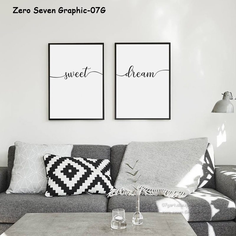 Us 27 50 Offsimple Black And White Sweet Dream Phrase Canvas Painting Poster And Print Living Room Bedroom Wall Art Picture Home Decoration In