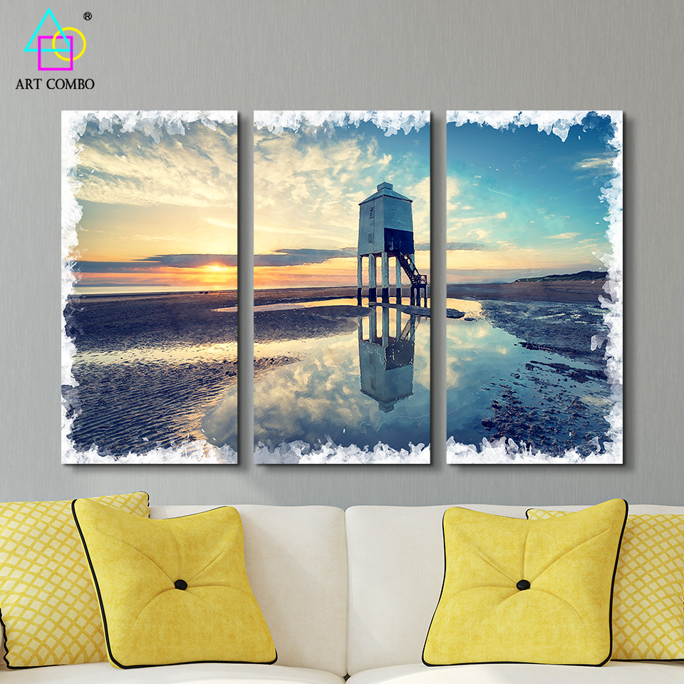 3 panels unframed beautiful landscape hut in the sunset canvas painting wall art picture homeroom decor