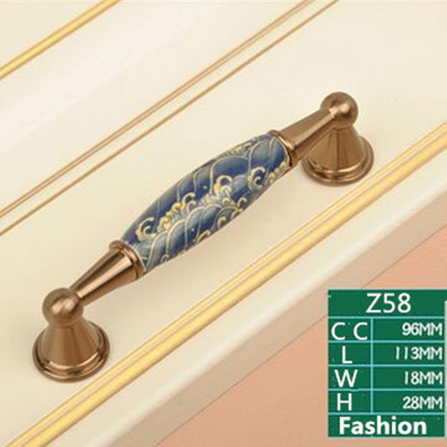 96mm Champagne Bronze Dresser Cupboard Door Handle Creative Fashion White  And Blue Furnture Handles Ceramic Drawer