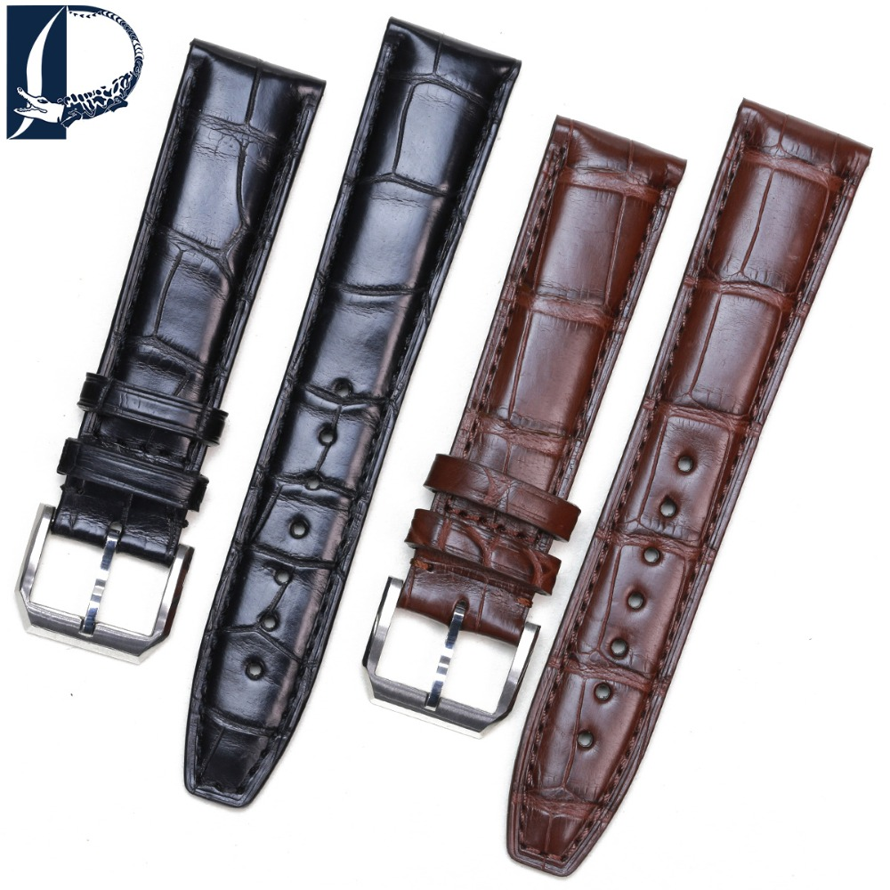 Pesno часы ремешок черный коричневый темно синий часы аксессуар 20 мм 22 мм Аллигатор кожаный ремешок для IWC Portofino Chronogroph