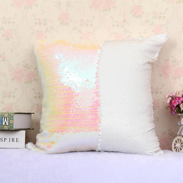 1Pcs 40*40cm Reversible Sequin Mermaid Throw Pillow Cushion Cover Car Home Decoration Sofa Bed Decor Decorative Pillowcase 40043