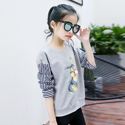 Teenager Girls T-Shirt Spring Autumn Children Long Sleeve Cartoon Tops Kids Striped Patchwork Shirt Girls Clothes 6 8 10 12 Y