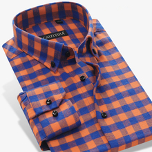 2017 Spring Winter Males's Lengthy Sleeve Button-down Brushed Flannel Plaid Gown Shirt 100% Cotton Mushy Slim Match Informal Shirts