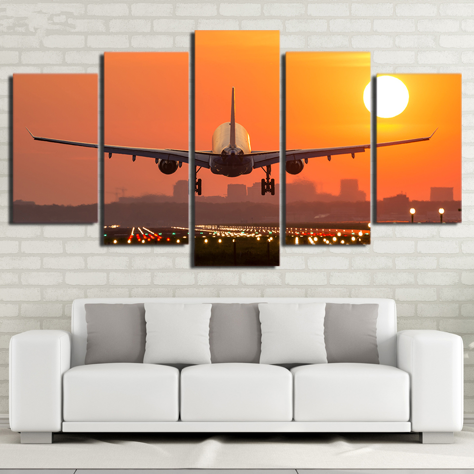 Framed Canvas HD Prints Pictures Home Decor 5 Pieces Airplane Sunset Painting Modular Wall Art Scenery Poster For Room image