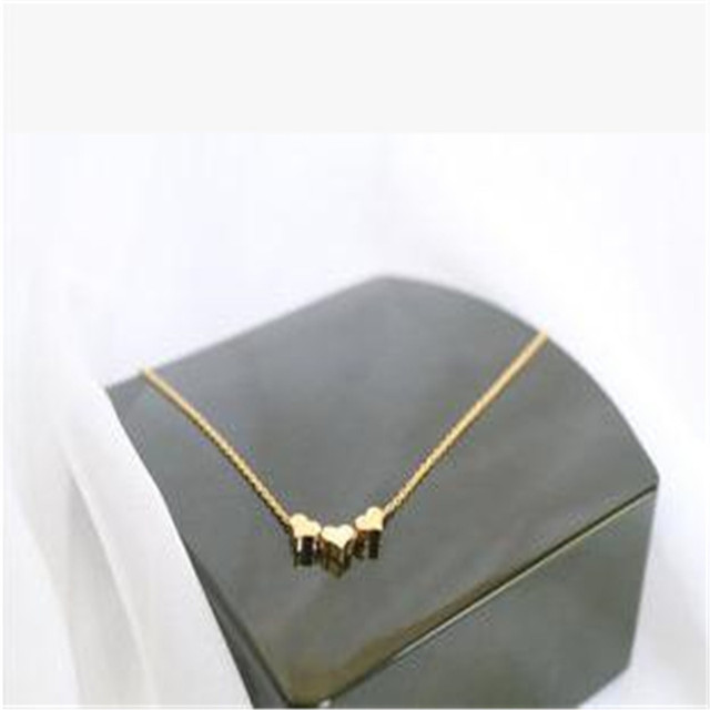 New Fashion Gold Color Simple collier choker necklace vintage Three Hearts  Pendant Necklaces Jewelry necklace women