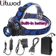 Litwod z30 LED Headlight Build-in Rechargeable Battery Head Lamp Zoomable Cree Q5 Led Bright Headlamp Head Light Head Flashlight