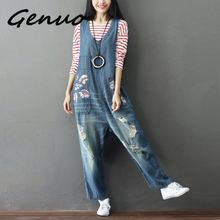 Genuo NEW Denim Sleeveless Jumpsuits 2019 New Flower Printed Loose Jeans Overalls Ripped Hole blue Rompers Baggy Trousers Female
