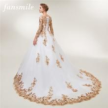Fansmile с длинным рукавом золотое кружево Vestido De Noiva Свадебные платья поезд на заказ размера плюс свадебные платья FSM-404T