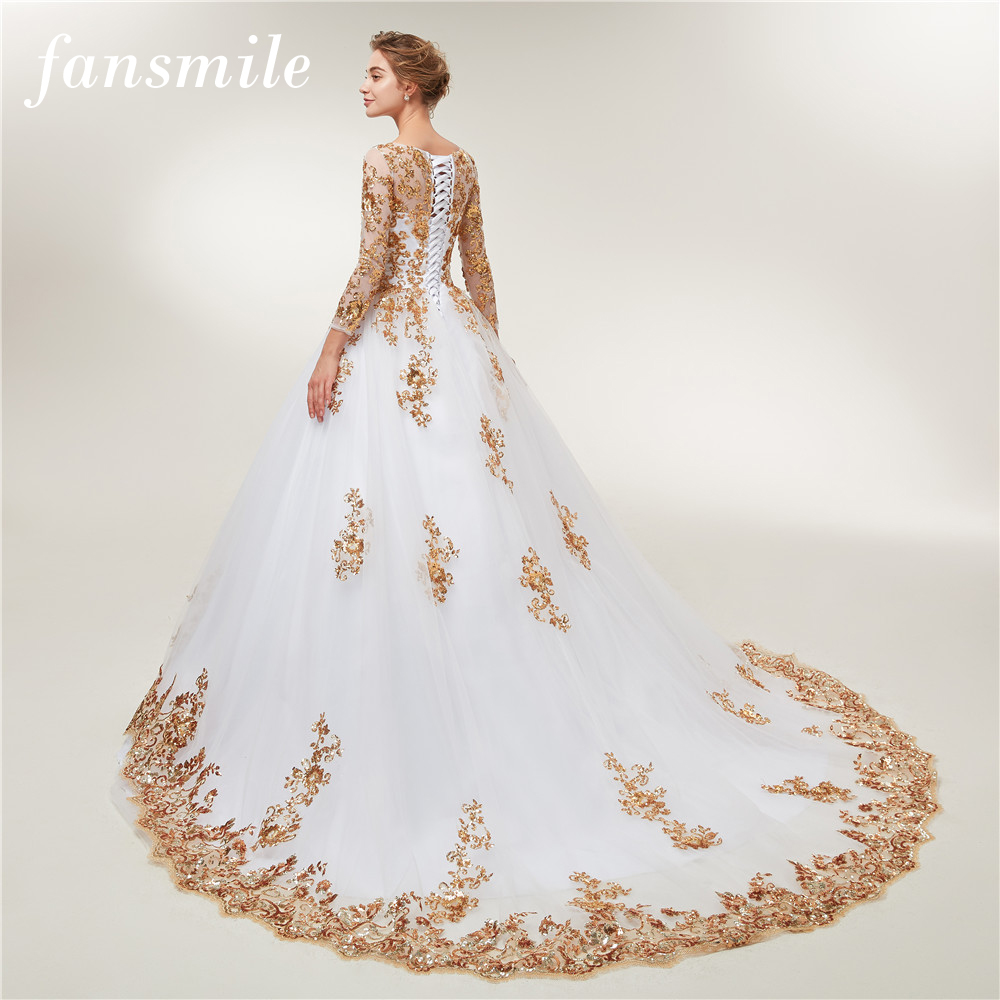 Fansmile Long Sleeve Golden Lace Vestido De Noiva Wedding Dresses 2020 Train Custom-made Plus Size Bridal Wedding Gowns FSM-404T