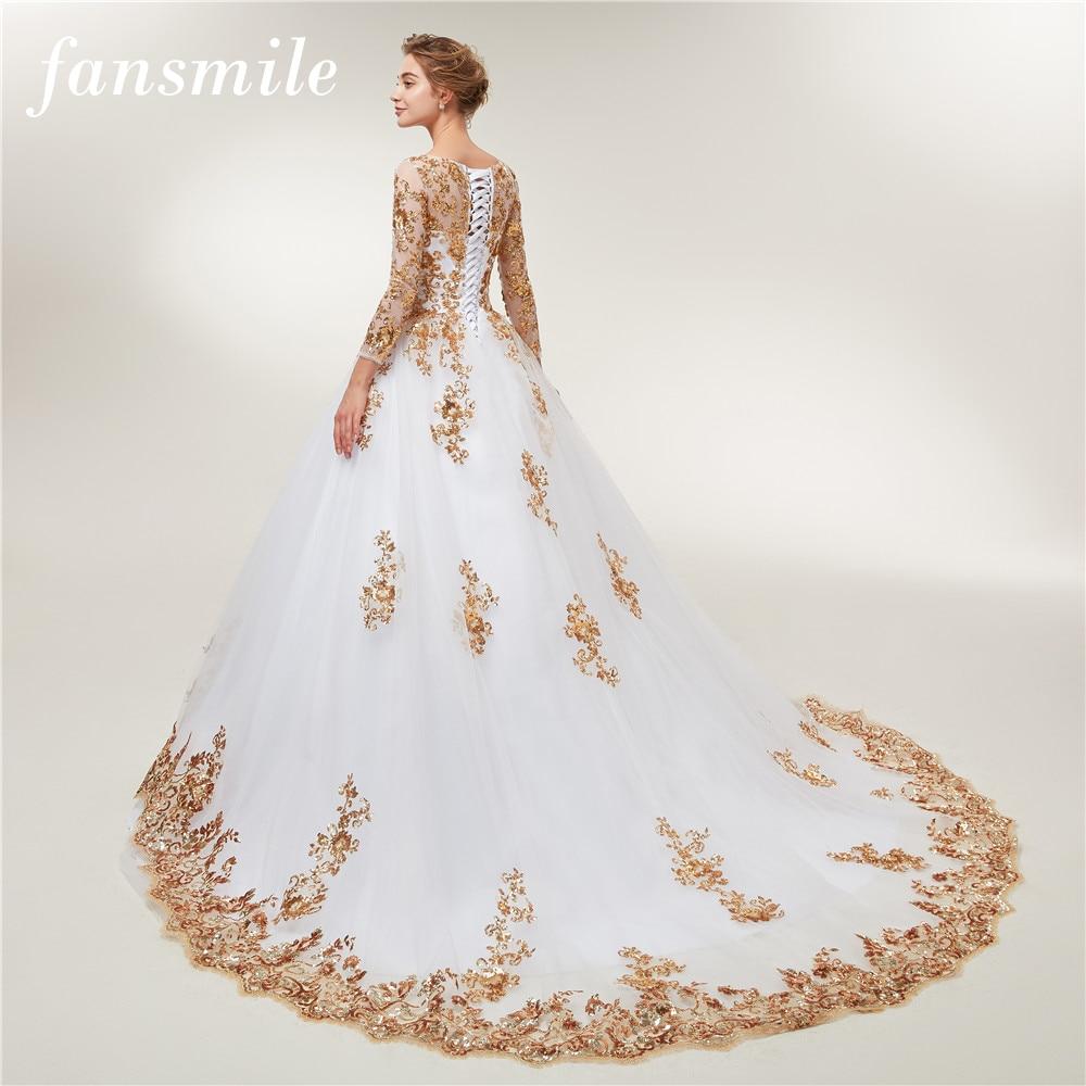 Fansmile Long Sleeve Golden Lace Vestido De Noiva Wedding Dresses 2020 Train Custom-made Plus Size Bridal Wedding Gowns FSM-404T