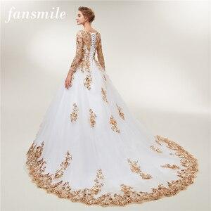 Image 1 - Женское свадебное платье Fansmile, золотистое кружевное платье с длинным рукавом и шлейфом, модель размера плюс на заказ, 2020