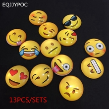 Glass Emoji Fridge Magnet Sets Cute Smile Face Expressions Refrigerator Round Magnetic Sticker Message Board Home Decor