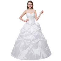 In Stock Halter Wedding Dress Embroidered Ball gown wedding gown Beaded Ruffle Lace Up cheap wedding dress
