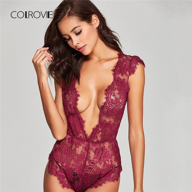 939e8721f7 COLROVIE Eyelash Lace Transparent Teddy 2018 New Burgundy Teddies Solid Women  Bodysuit V Neck Sleeveless Home Sexy Bodysuit