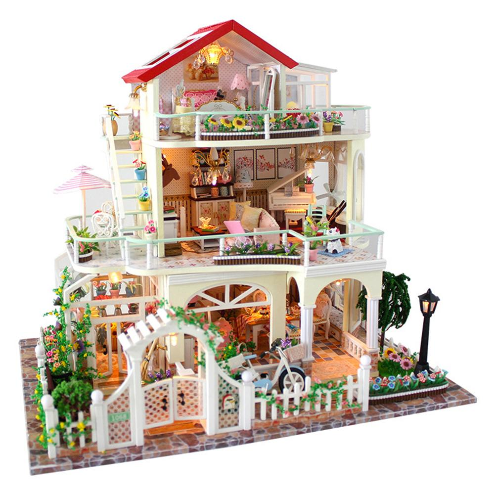 Assembling DIY Miniature Model Kit Wooden Doll House Romantic 3 Layers Cottage House Toy with Furnitures Gift for Girl diy wooden assembling brontosaurus model burlywood