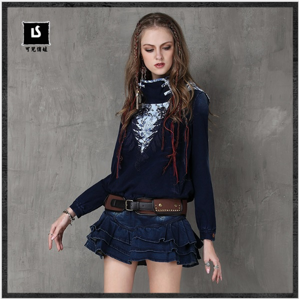 Women Sweatshirts 2017 Keer Winter Vintage Thicker Pullovers Ethnic Embroidery Hoodies Knitted Jacket B9027 Denim Coats Feminino