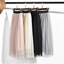Girls Skirt Chiffon Mesh Pleated Skirt Summer Pink Princess Skirt for Girl Teenage Girls Clothes Skirts for Girls Children 12 Y недорого