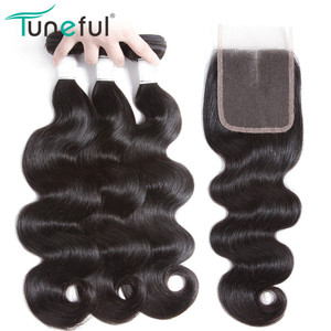 Body Wave Hair Bundles With Closure Tuneful Brazilian Hair Weaves Bundle Natural Color NonRemy Human Hair 3 Bundles With Closure