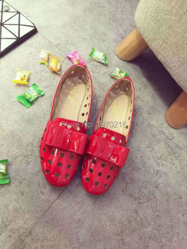 ФОТО 2016 women's Spring summer candy colors fashion shoes,Breathable hollow-carved patent leather lovely bow Flats(Nude/Red/White)