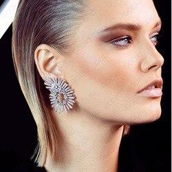 Godki 44mm design famoso luxo populargeometry flor brincos para o casamento feminino completa mirco cz zircão cúbico na moda jóias