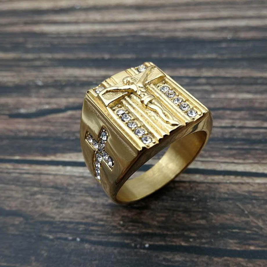 Hip Hop Iced Out Religious Jesus Cross Ring Gold Color Stainless Steel Christian Rings For Women & Men Wholesale Anel Masculino image