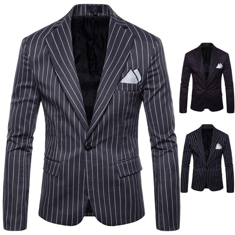 Blazer Men 2018 New Arrival Men's Englang Style Striped Suit Fashionable Men's Wedding Dres Svetement Homme 2018